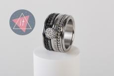 iXXXi Kombi 14 mm silber/black crystal stone